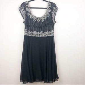 JKARA Chiffon Cocktail Black Beaded Dress